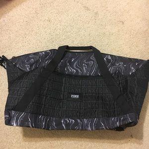 Victoria's Secret PINK Black Marble Duffle Bag